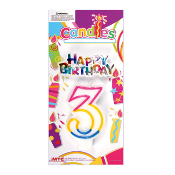 #3 RAINBOW CANDLE WITH TOPPER (24 PCS) PF-6257