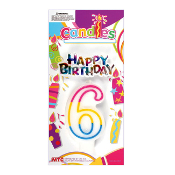 #6 RAINBOW CANDLE WITH TOPPER (24 PCS) PF-6260