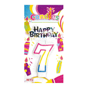 #7 RAINBOW CANDLE WITH TOPPER (24 PCS) PF-6444