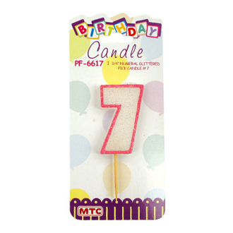 "1.75"" NUMERAL GLITTERED PICK CANDLE #7 (24 PCS) PF-6617"