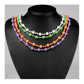 "SALE! 4 PCS 30"" ASSORTED NEON BEAD NECKLACE (48 PCS) PF-7355"