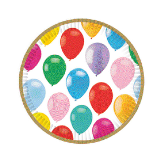 "COLORFUL BALLOONS - 8 PCS 7"" PLATES (24 PACKS) PF-22801"