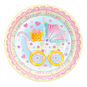 "BABY GIRL IN A TROLLEY - 8 PCS 9"" PLATE (24 PACKS) PF-18704"