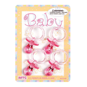 "4 PCS 2.25"" CRYSTAL PACIFIERS PINK (24 PCS) PF-1440"