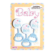 "3 PCS 3.5"" BABY RATTLE BLUE (24 PCS) PF-1465"