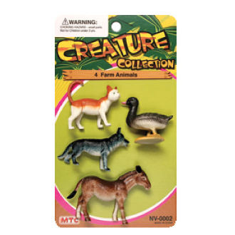 4 PCS FARM ANIMALS - 3 ASSORTMENT (24 PCS) NV-0002