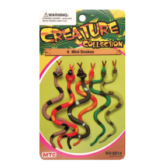 6 PCS MINI SNAKES - 2 ASSORTMENT (24 PCS) NV-0014