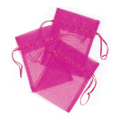 "3 PCS 5""W X 6.5""H ORGANZA POUCHES - FUSCHIA (24 PACKS) PF-7562"