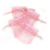 "4 PCS 3""W X 4""H ORGANZA POUCHES - PINK (24 PACKS) PF-7336"