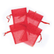 "4 PCS 3""W X 4""H ORGANZA POUCHES - RED (24 PACKS) PF-7554"