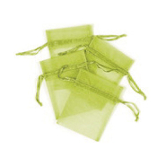 "4 PCS 3""W X 4""H ORGANZA POUCHES - LIME GREEN (24 PACKS) PF-7687"