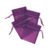 "4 PCS 3""W X 4""H ORGANZA POUCHES - PURPLE (24 PACKS) PF-7692"