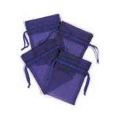 "4 PCS 3""W X 4""H ORGANZA POUCHES - BLUE (24 PACKS) PF-7694"