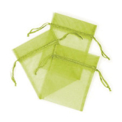 "3 PCS 5""W X 6.5""H ORGANZA POUCHES - LIME GREEN(24 PACKS) PF-7695"