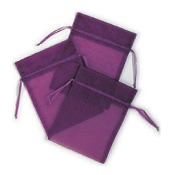 "3 PCS 5""W X 6.5""H ORGANZA POUCHES - PURPLE (24 PACKS) PF-7700"