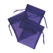 "3 PCS 5""W X 6.5""H ORGANZA POUCHES - BLUE (24 PACKS) PF-7702"