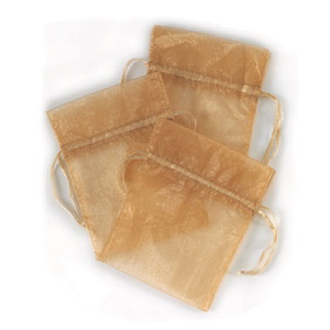 "3 PCS 5""W X 6.5""H ORGANZA POUCHES - GOLD (24 PACKS) PF-7334"