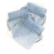 "3 PCS 5""W X 6.5""H ORGANZA POUCHES - SILVER (24 PACKS) PF-7335"