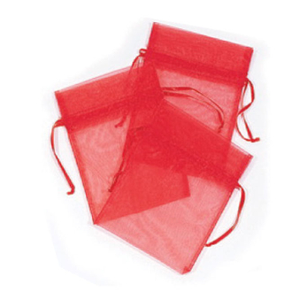 "3 PCS 5""W X 6.5""H ORGANZA POUCHES - RED (24 PACKS) PF-7560"