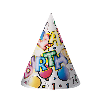 BIRTHDAY BASH - 8 PARTY HATS (24 PACKS) PF-5832