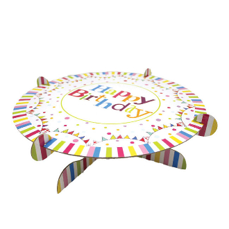 "13.5"" SINGLE TIER CAKE STAND HAPPY BIRTHDAY (12 PACKS) PF-6846"