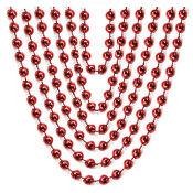 "6 PCS 32"" RED METALLIC 6MM BEAD NECKLACE (24 PCS) PF-6926"