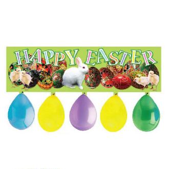 "34"" BALLOON BANNER - HAPPY EASTER (24 PCS) PF-7651"