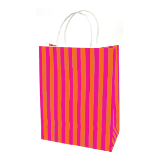 SALE! 144 PCS ORANGE MEDIUM STRIPES KRAFT GIFT BAGS PF-2151