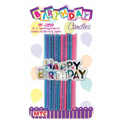 24 SPARKLING GLITTERED CAND STICKS W/TOPPER (24 PCS) PF-2289