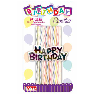 "30 PCS 4"" SPIRAL CANDLES STICKS W/ TOPPER (24 PCS) PF-2288"