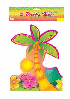 SALE! 4 PCS PARTY HATS - LUAU (48 PCS) PF-7648