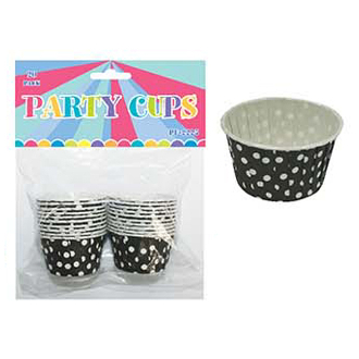 "20 PCS 2"" X 1.25"" POLKA DOT PARTY CUPS - BLACK(24 PACKS) PF-2225"