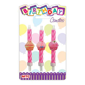 "6 PCS 3"" CUPCAKE CANDLES (24 PCS) PF-2357"