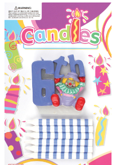 SALE! CLOWN CANDLE SET - 6TH BIRTHDAY (48 PCS) PF-6314