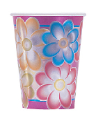 SALE! 6 PCS 9 OZ CUPS - BIRTHDAY FLOWERS (48 PCS) PF-5091