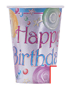 SALE! 6 PCS 9 OZ CUPS - BIRTHDAY MARBLES (48 PCS) PF-5491