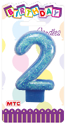 "3"" NUMERAL GLITTERED CANDLE - #2 BLUE (24 PCS) PF-2326"