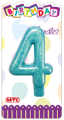"3"" NUMERAL GLITTERED CANDLE - #4 (24 PCS) PF-2329"