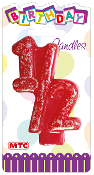 "3"" NUMERAL GLITTERED CANDLE - #1/2 (24 PCS) PF-2420"