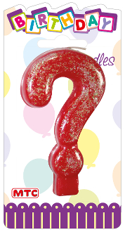 "3"" NUMERAL GLITTERED CANDLE - #? (24 PCS) PF-2459"