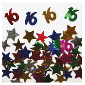 2/3 OZ. CONFETTI - #16 & STARS (24 PACKS) PF-2747