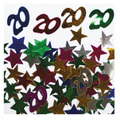2/3 OZ. CONFETTI - #20 & STARS (24 PACKS) PF-2749