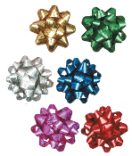 "6"" LASER GIFT BOW ASSORTED (24 PACKS) PF-6893"