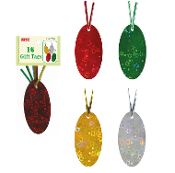 16 GIFT TAGS WITH TWIST TIE - LASER (24 PACKS) PF-2768