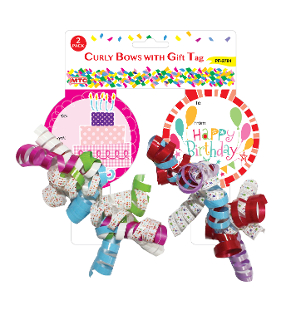 2 CURLY BOWS WITH GIFT CARD (24 PACKS) PF-2784