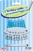 10 B'DAY CANDLES W/ PERSONALIZE TOPPER-BLUE (24 PCS) PF-2425