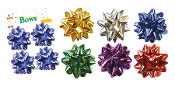 "4 PCS 3.5"" GIFT BOWS ASSORTED (24 PACKS) PF-6649"