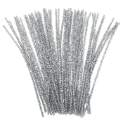 40 PC METALLIC CHENILLE STEMS - SILVER (24 PACKS) PF-2796