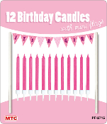12 CANDLES W/ MINI FLAGS - IT'S A GIRL (24 PCS) PF-2715