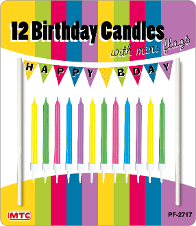 12 CANDLES W/ MINI FLAGS - HAPPY BDAY (24 PCS) PF-2717